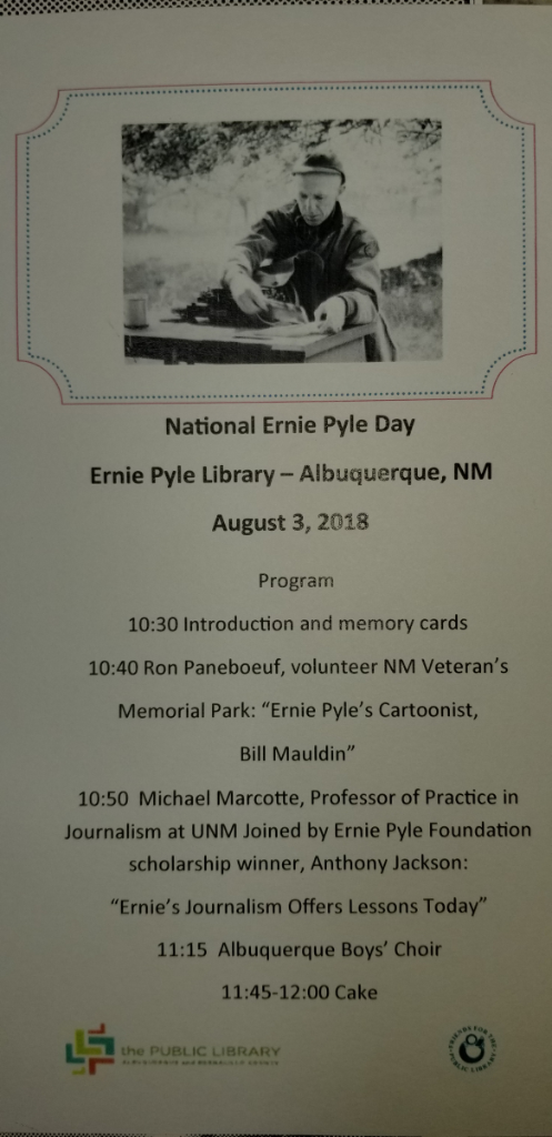 National Ernie Pyle Day August 3rd Mike Marcotte